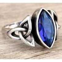 Bague triquetra pierre bleue