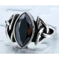 Bague triquetra pierre noire