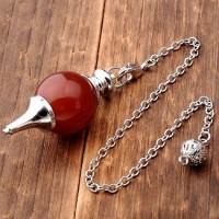 Pendule boule agate rouge