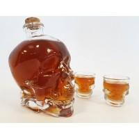 Coffret bouteille et verre tete de mort