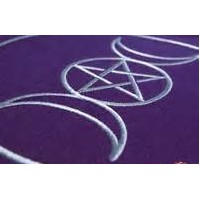 Tapis de carte tarot triple lune et pentagramme