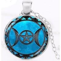 Collier pentagramme triple lune bleue