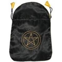 Bourse en satin noir pentagramme