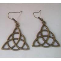 Boucle d'oreilles triquetra bronze antique